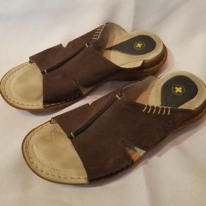 DR. MARTENS Brown Genuine Leather Slides